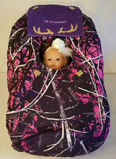 Infant Car Seat Cover Muddy Girl Camo Baby True Purple Minky Custom Embroidery