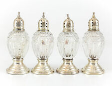 4pc Sheffield Silver Co Sterling Silver & Crystal Weighted Salt & Pepper Shakers
