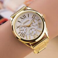 Luxus-Frauen-Dame-Gold-Stailess Steel Roman analoge Quarz-Armbanduhr NEU E9C8