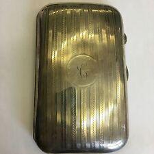 Antique Solid Silver Button Open Cigar Case Colen Hewer Cheshire 1914 9cm X 15cm