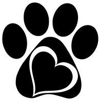 PAW HEART Vinyl Decal Sticker Window Wall Bumper Animal Adopt Dog Cat Love Pet