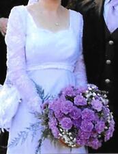 White bridal wedding dress Long Beaded Lace Sleeves & Satin Sash Size 8 10