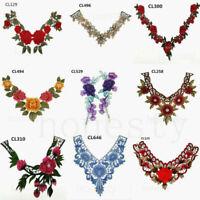 Lace Embroidered Venise Floral Neckline Neck Collar Trim Clothes Sewing Applique