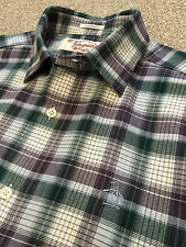 GORGEOUS PENGUIN BRUSHED COTTON PURPLE / GREEN CHECK CLASSIC FIT SHIRT S SMALL