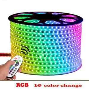 Waterproof 5050 LED Strip AC 220V 240V 60leds/m Commercial Rope Light RGB white