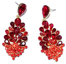 Red Chandelier Earrings Rhinestone Crystal 2.6 in