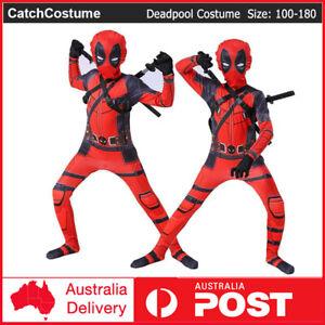 Kids Deadpool Costume Book Week Superhero Cosplay Boy Lycra Morph Party Bodysuit