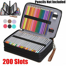 200 Slots Large Capacity Leather Zipper Pen  School Pencil Case Makeup  K #