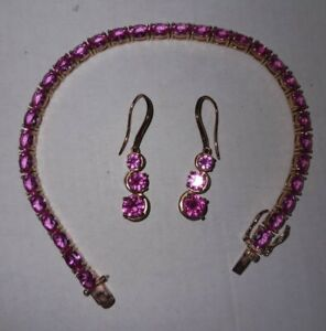 Hot Pink Sapphire Bracelet & Earrings 18k rose gold over Sterling Silver