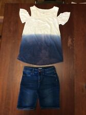 Justice Blue White Dipped Bare Shoulder & Old Navy Denim Ballerina Shorts Sz 12