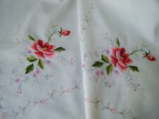 Vtg Tablecloth kitchen cotton embroidered beautiful rosses &tenerife lace 68""