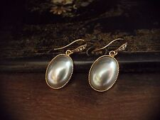Vintage Grey Pearl Cabuchon Oval Drop,Black Diamond Crystal Pierced Earrings