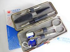 Dovo German 5 Pc. Manicure Pedicure Set Gray Leather Case Solingen 301-111