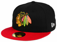 Chicago Blackhawks Fitted 5950 New Era NHL Black/Red Cap Hat (Multiple Sizes)