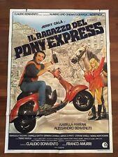 MANIFESTO 2F T RAGAZZO DEL PONY EXPRESS,CALA' FERRARI VESPA PIAGGIO MOTO CAR