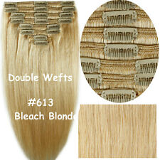 THICK Virgin Color Clip In Remy Human Hair Extensions Full Head Double Weft E704