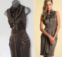 UK 12 Karen Millen Khaki Silk Military Trench Safari Casual Day Wrap Dress
