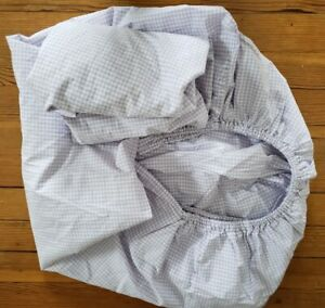 Pottery Barn Kids  Pair Lavender & White Gingham Check Baby Crib Fitted Sheets