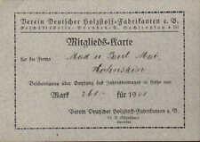 DRESDEN, Mitglieds-Karte 1921, Verein Deutscher Holzstoff-Fabrikanten e. V.