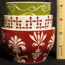 Starbucks 2010 Set of 3 Holiday Christmas Nesting Tea Cups New Bone USA Seller