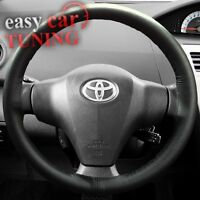 FOR TOYOTA AURIS 2006-2012 BLACK REAL GENUINE 100% LEATHER STEERING WHEEL COVER