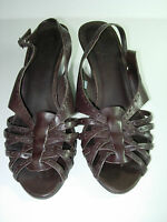WOMENS BROWN LEATHER TIMBERLAND SLINGBACK WEDGE SANDALS HEELS SHOES SIZE 9 M