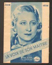 """PARIS (IX°) """"LA VOIX DE SON MAITRE"""" CATALOGUE JUIN 1936 , ARTISTE / VINA BOVY"""