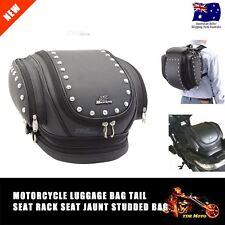 Universal Motorcycle Motorbike Backpack Luggage Rear Bag Leather Saddlebag Black