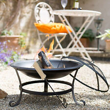 BLACK FIRE PIT STEEL PATIO GARDEN HEATER W/POKER CHARCOAL GRILL BBQ OUTDOOR NEW