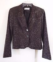 womens multi color CALVIN KLEIN jacket blazer 2 btn linen blend animal print S 4