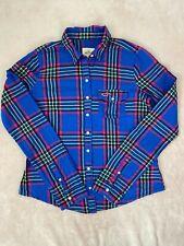 Hollister Womens Button Up Long Sleeve Shirt Cotton Top Size Medium Blue Plaid