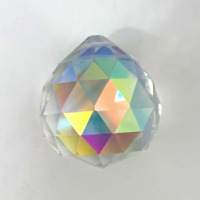 2 PACK OF 30MM CLEAR GLASS CRYSTAL PRISM RAINBOW LIGHT BALL disco car mirror