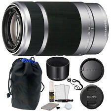 Sony E 55-210mm f/4.5-6.3 OSS E-Mount Lens (Silver) + Pouch + Top Accessories!