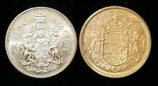 Lot of 2 Canadian Silver Half Dollars 1958 1962 50 Cent Coins Bullion