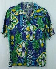 09bc281d 1970's Vintage Towncraft JCPenney Hawaiian Shirt Green Floral Blue Beach M