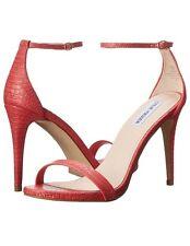 Steve Madden Stecy 9 Coral Orange Poppy Snake Party Dress Sandals Open Stilettos