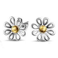 1Pair Fashion Elegant Women 925 Silver Plated Yellow Flower Ear Stud Earrings