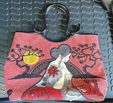 ISABELLA FIORE Canvas Beaded & Leather TOTE Lucite Handles ASIAN WOMAN Footed