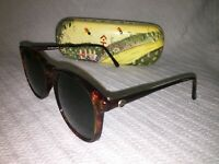 Vintage Anne Klein II For Riviera Brown Plastic Frame Round Black Lens Sunglasse
