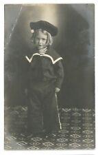RPPC Cute Sailor Costume Girl Studio Portrait Real Photo Postcard