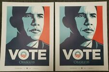 2 SHEPARD FAIREY OBAMA 08 VOTE POSTERS - 24X18 EXCELLENT CONDITION + EXTRAS