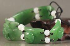China natural hetian jade bangle Chinese green jade flower beads Bracelet
