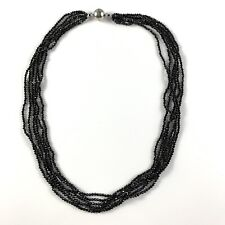 """90.00ctw Black Spinel Sterling Strand Necklace 18"""" JTV DOCY841"""