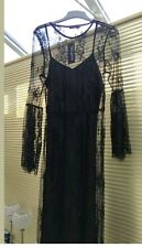 BOOHOO SIZE 14 TALL LONG BLACK LACE DRESS FLUTE SLEEVES NEW EVENING