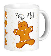 Christmas Mug | Rude Mug | Gingerbread Woman Bite Me Mug | Funny Mug