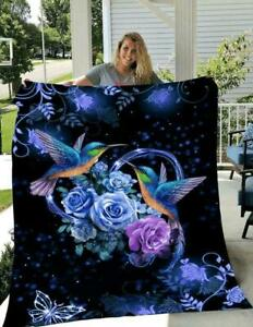 Hummingbird Rose Flower Mysterious Unique Fleece Blanket For Bed Sofa Gifts