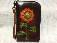 "HAND MADE EMBOSSED GENUINE LEATHER SUNFLOWER WALLET/CLUTCH/WRISTLET (4.0 X 7.0"")"
