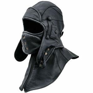 Real leather convertible pilot cap leather cap aviator hat