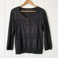 Anthropologie Knitted & Knotted Sweater Medium Cardigan Black Lace Rules