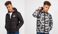 KWD New Kids Junior Puffer Hooded Jacket Coat Black Camo Reversible Stretford